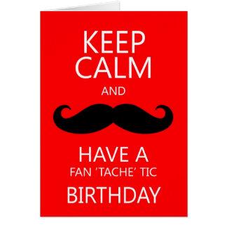 穏やかなおもしろいの誕生日の口ひげ/髭を保って下さい カード