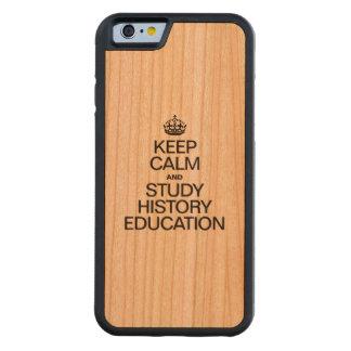 穏やかなおよび勉強の歴史の教育保って下さい CarvedチェリーiPhone 6バンパーケース