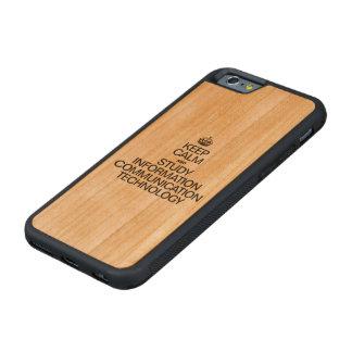 穏やかなおよび勉強情報コミュニケーションTECH保って下さい CarvedチェリーiPhone 6バンパーケース