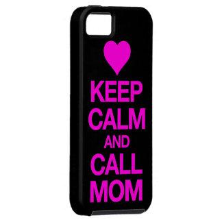穏やかなおよび呼出しお母さんのピンクのハートのiPhone 5の場合保って下さい iPhone SE/5/5s ケース