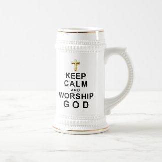 穏やかなおよび崇拝の神保って下さい ビールジョッキ