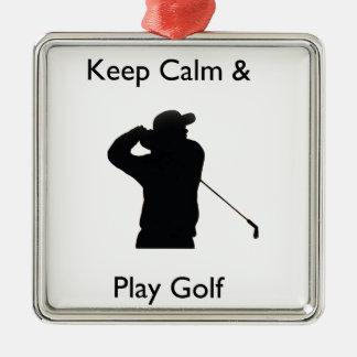 穏やかなおよび演劇のゴルフ保って下さい メタルオーナメント