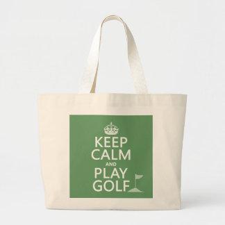 穏やかなおよび演劇のゴルフ-すべての色保って下さい ラージトートバッグ