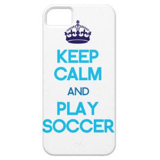 穏やかなおよび演劇のサッカーは保って下さい(青い) iPhone SE/5/5s ケース