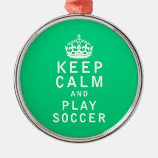 穏やかなおよび演劇のサッカー保って下さい メタルオーナメント