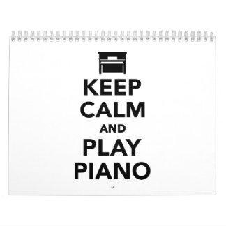 穏やかなおよび演劇のピアノ保って下さい カレンダー