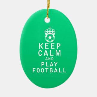 穏やかなおよび演劇のフットボール保って下さい セラミックオーナメント