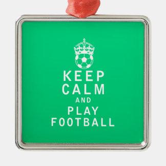 穏やかなおよび演劇のフットボール保って下さい メタルオーナメント