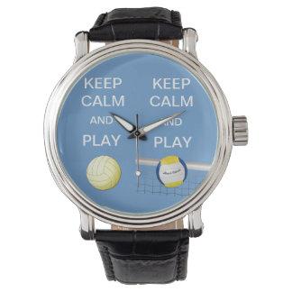 穏やかなおよび演劇VOLLEYBALL/BEACHのバレーボール保って下さい 腕時計