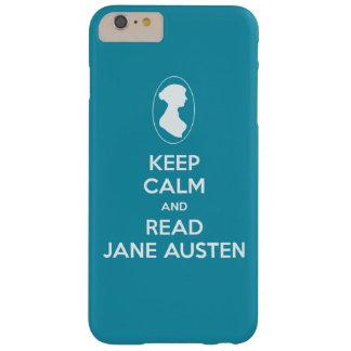 穏やかなおよび読書のジェーンAustenのカメオのシルエット保って下さい Barely There iPhone 6 Plus ケース