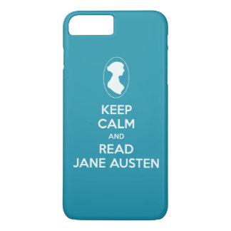 穏やかなおよび読書のジェーンAustenのカメオのシルエット保って下さい iPhone 8 Plus/7 Plusケース