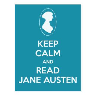 穏やかなおよび読書のジェーンAustenのカメオのティール(緑がかった色)保って下さい ポストカード
