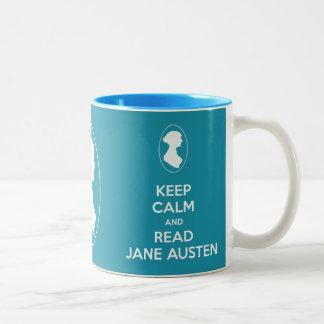穏やかなおよび読書のジェーンAustenのカメオのポートレートのマグ保って下さい ツートーンマグカップ