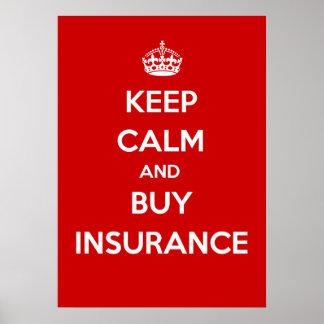 穏やかなおよび買物の保険保って下さい ポスター