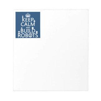穏やかなおよび造りのロボットは保って下さい(あらゆる色で) ノートパッド