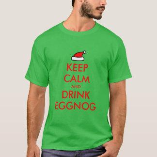 穏やかなおよび飲み物のエッグノッグのクリスマスのTシャツ保って下さい Tシャツ