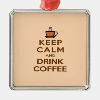 穏やかなおよび飲み物のコーヒー保って下さい メタルオーナメント