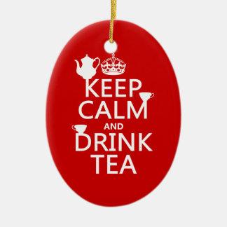 穏やかなおよび飲み物の茶-すべての色保って下さい セラミックオーナメント