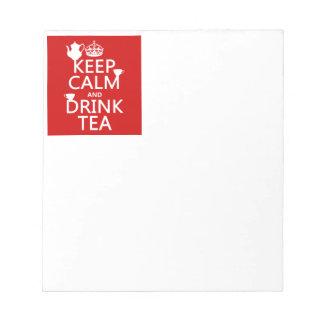 穏やかなおよび飲み物の茶-すべての色保って下さい ノートパッド