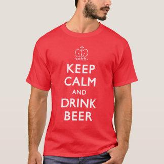 穏やかなおよび飲み物ビール保って下さい Tシャツ