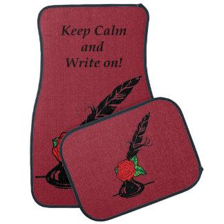 穏やかなクイルインク赤いバラのえんじ色の自動マットを保って下さい カーマット