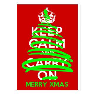 穏やかなクリスマスツリーの落書きを保って下さい ポストカード