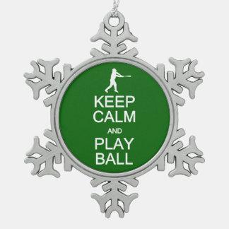 穏やかな及び演劇の球のカスタムなオーナメント保って下さい スノーフレークピューターオーナメント