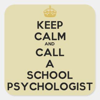 穏やかな呼出しを学校の心理学者のステッカー保って下さい スクエアシール