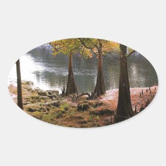 穏やかな川の木の秋 楕円形シール