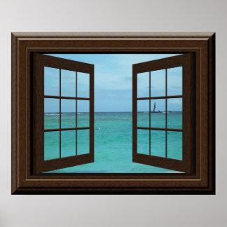 穏やかな模造のな窓ポスターアクアマリンの海場面 ポスター