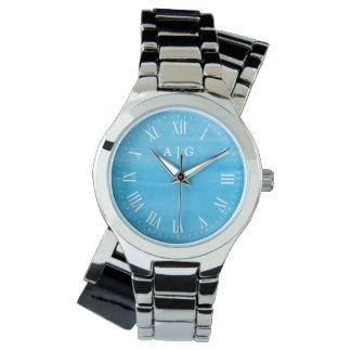 穏やかな水彩画の青くカスタムなイニシャル 腕時計