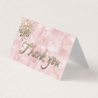穏やかな淡いピンクの金ゴールドの書道は感謝していしています 名刺