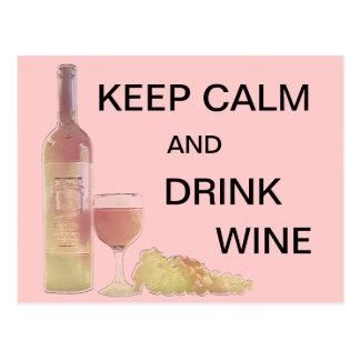 穏やかな飲み物のワインのグラフィック ポストカード