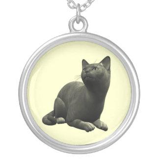 穏やかな黒猫のネックレス シルバープレートネックレス
