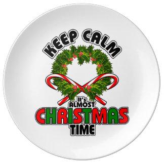 穏やかクリスマスの時間ほとんど保って下さい 磁器プレート
