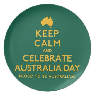 穏やか保ち、オーストラリア日を祝って下さい! プレート