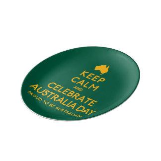 穏やか保ち、オーストラリア日を祝って下さい! 磁器プレート