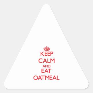 穏やか保ち、オートミールを食べて下さい 三角形シールステッカー