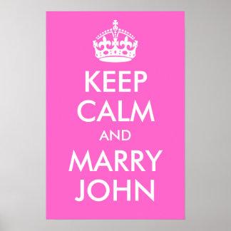 穏やか保ち、ジョンのプリントを結婚して下さい ポスター