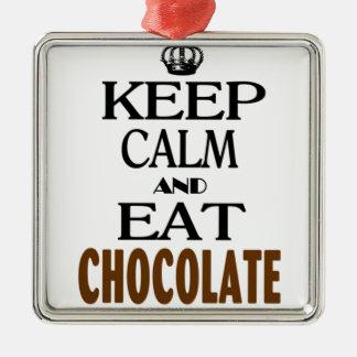 穏やか保ち、チョコレートを食べて下さい メタルオーナメント
