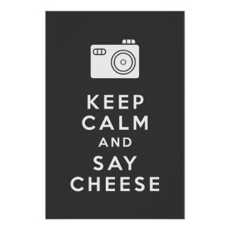穏やか保ち、チーズ-黒--を言って下さい ポスター