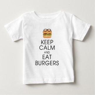 穏やか保ち、ハンバーガーを食べて下さい ベビーTシャツ