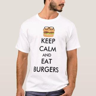 穏やか保ち、ハンバーガーを食べて下さい Tシャツ
