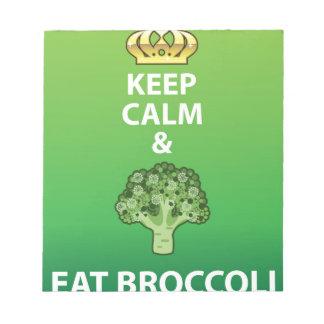 穏やか保ち、ブロッコリーのベクトルを食べて下さい ノートパッド
