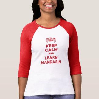 穏やか保ち、マンダリンの女性長袖を学んで下さい Tシャツ