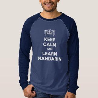 穏やか保ち、マンダリンメンズ長袖を学んで下さい Tシャツ