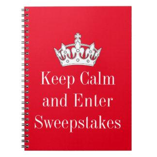 穏やか保ち、懸賞を入れて下さい ノートブック