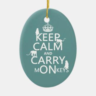 穏やか保ち、猿-すべての色--を運んで下さい セラミックオーナメント