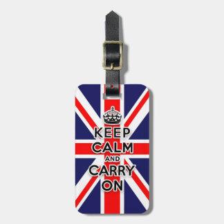 穏やか保ち、英国国旗の旗を続けていって下さい ラゲッジタグ