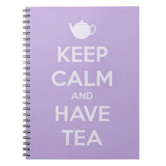 穏やか保ち、茶ラベンダーを食べて下さい ノートブック